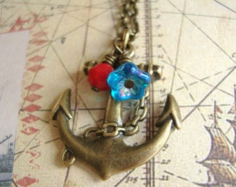 Sweet Sailor Girl. Anchor Necklace.