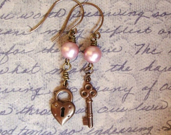 Unlock My Heart. Lock and Key and Pink Pearl Earrings.
