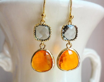 Gorgeous Orange and Gray Glass Dangle Earrings. Colorblock Earrings. Spring Earrings. Bridesmaid Earrings.