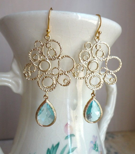 Aquamarine Blue Glass and Gold Bubble Earrings. Beach Wedding. Bridal Earrings. Bridesmaid Earrings. Wedding Earrings