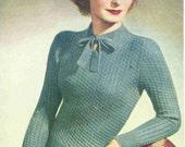 Vintage Knitting Pattern - Bestway A 1929 - Jumper with Neck Tie