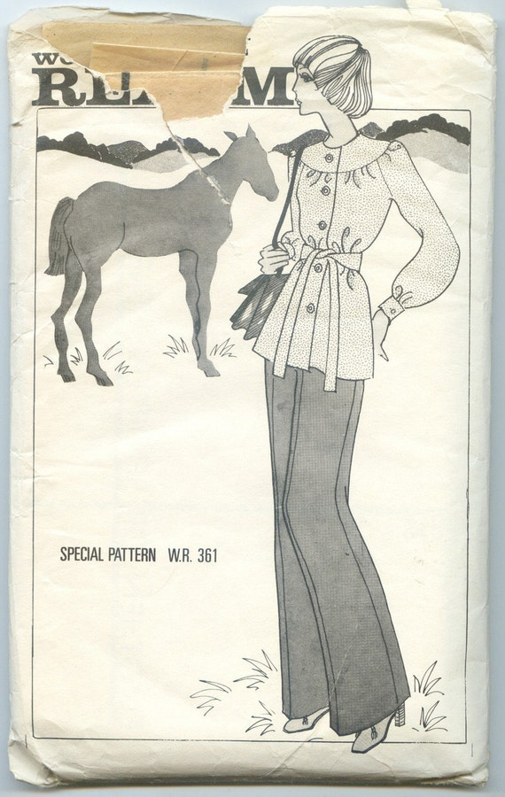 Vintage 1970s Tunic and Trousers Pattern - Woman's Realm Special Pattern W.R 361 - Size 12 Bust 34