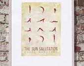Sun Salutation / 12 basic Yoga postures - 13x19 Art Print