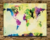 Watercolor World Map - 18x24 Canvas Print (multiple color options)