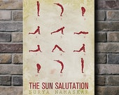 Sun Salutation / 12 basic Yoga postures - 12x18 Canvas Print (multiple color options)
