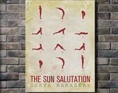 Sun Salutation / 12 basic Yoga postures - 18x24 Canvas Print (multiple color options)