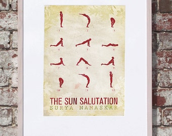 Sun Salutation / 12 basic Yoga postures - 8x10 Art Print (multiple color options)