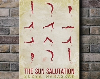 Sun Salutation / 12 basic Yoga postures - Canvas Print (multiple color options)