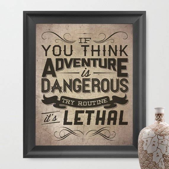 ADVENTURE / Quote by Paulo Coelho - 8x10 Art Print /  Inspirational typography (multiple color options)