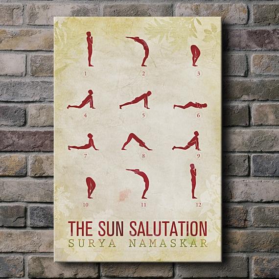Sun Salutation / 12 basic Yoga postures - 12x18 Canvas Print (multiple color options)