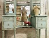 Vintage Painted Cottage Aqua Chic Triple Mirror Vanity VAN128