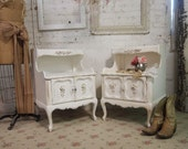 RESERVE DIAN  Vintage Painted Cottage  Shabby Tea Stained French Night Table NT227