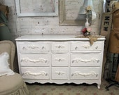 Vintage Painted Cottage Chic Shabby White French Provincial Dresser DR250