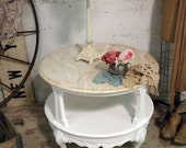 Painted Cottage Chic Shabby White French Marble End Table ENT 237