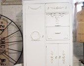 Painted Cottage Chic Shabby White Romantic Armoire AM235