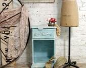 Painted Cottage Chic Shabby Aqua Romantic Night Table NT343