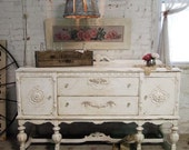 Painted Cottage Chic Shabby Tea Stained Server/ Buffet SV272