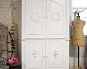 Painted Cottage Chic Shabby White Romantic Armoire / TV cabinet AM242