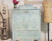 RESERVED for ELIZABETH Painted Cottage Chic Shabby Aqua French Dresser CH332