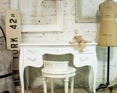 Painted Cottage Chic Shabby White Romantic French Vanity VAN238