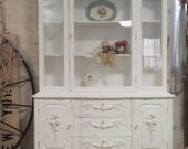 RESERVED for PATRICE Painted Cottage Chic Shabby White French China Cabinet CC338