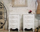RESERVED for RIAWYER Painted Cottage Chic Shabby White Romantic Night Tables NT417