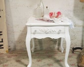 RESERVED sara SARA Painted Cottage Chic Shabby  White Romantic End Table ENT257