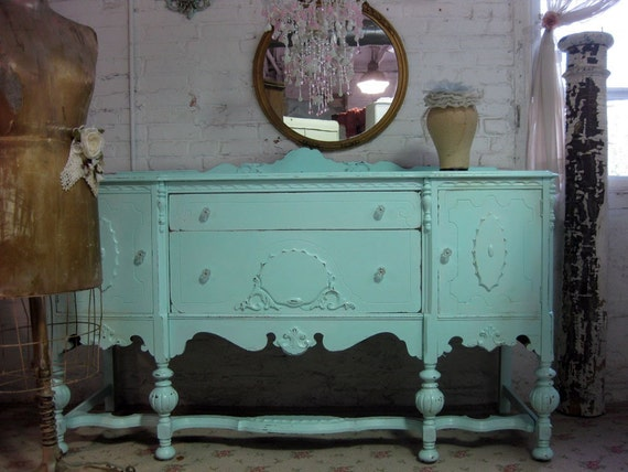 VIntage Painted Cottage Aqua Chic Server Buffet
