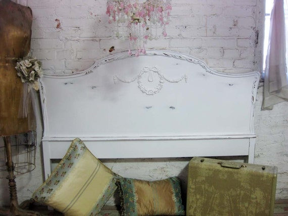 Vintage Shabby White Painted Cottage Chic Headboard Double Full