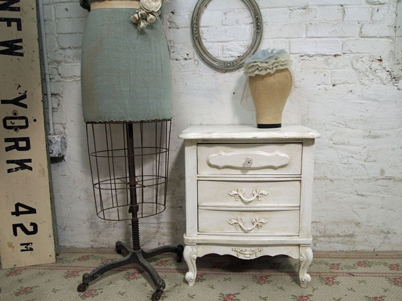 VIntage Painted Cottage Chic Shabby French Provincial Night Stand NT138