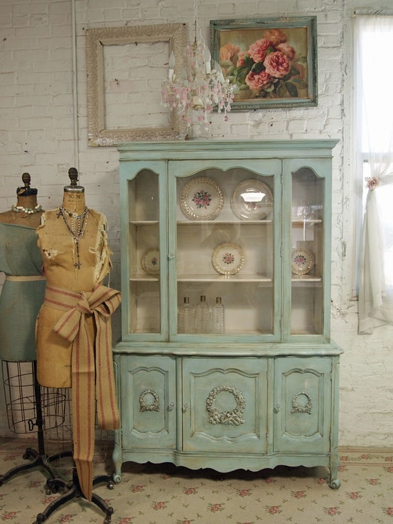 Vintage Painted Cottage Aqua Chic French China Cabinet Cc138
