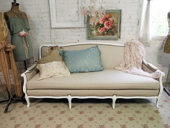 RESERVE DEVON Vintage Painted Cottage Chic Shabby White French Provincial Upholstered Louis Sofa UP105