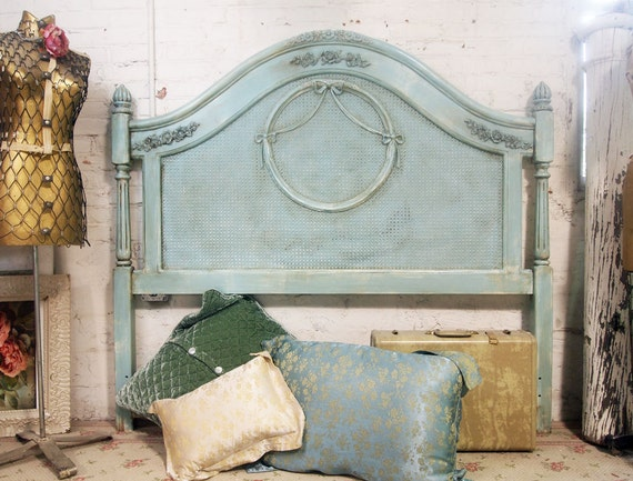 Painted cottage shabby aqua chic queen by paintedcottages for Painted on headboard