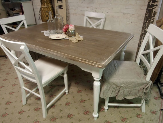 RESERVED mleilarahimi   Vintage Painted Cottage Chic Shabby White Farmhouse Table and Chairs TBL204