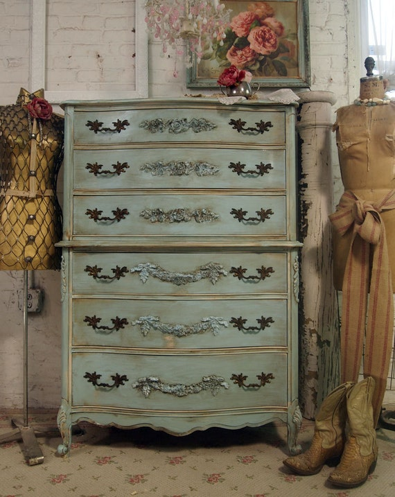 Vintage painted cottage shabby aqua chic dresser ch216 for Ameublement shabby chic