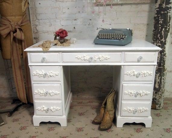 Vintage Painted Cottage Shabby White Reception Desk DK205