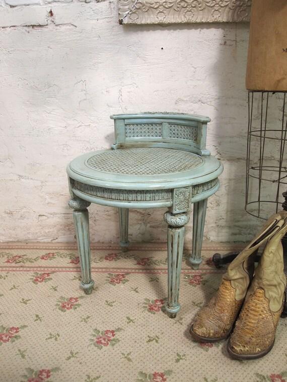 Painted Cottage Romantic Aqua Chic Stool ST201