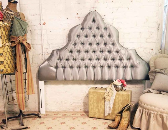Vintage Painted Cottage Shabby Grey Tufted Headboard Full Double