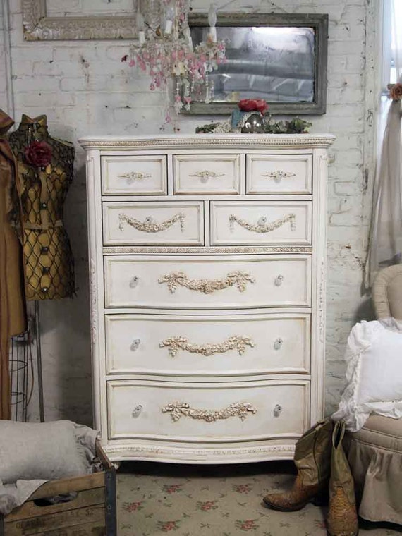 Painted Cottage Shabby Tea Stained Tall Romance Dresser CH17