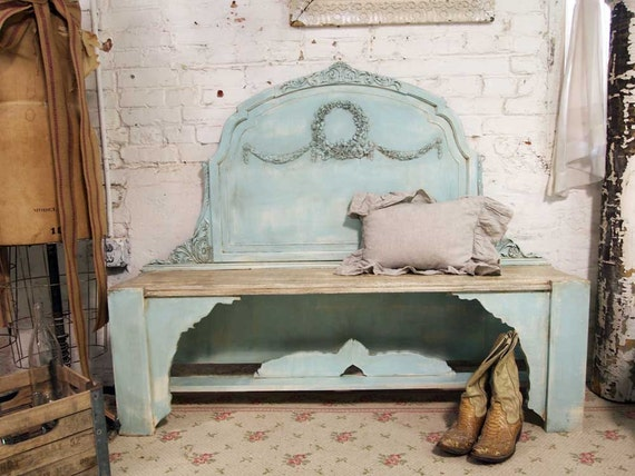 Vintage Painted Cottage Handmade Fancy Farmhouse Bench VF226