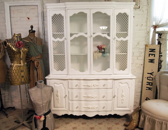 RESERVED for FRANKI Vintage Painted Cottage Shabby White Romantic China Cabinet CC150