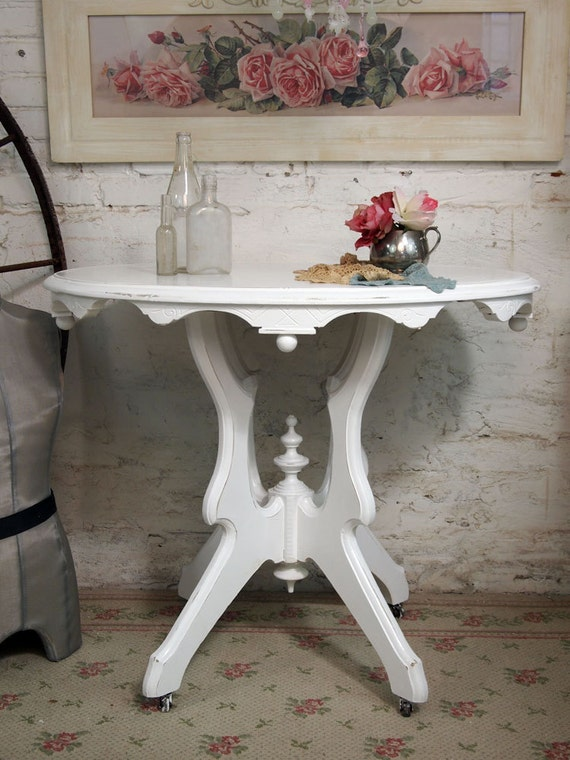 Painted Cottage Chic Shabby White French Vintage Side Table ENT225