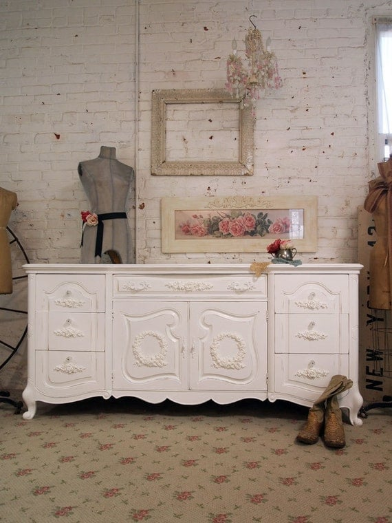 RESERVE for TYLER Painted Cottage Romantic Shabby White Vintage French Dresser DR278