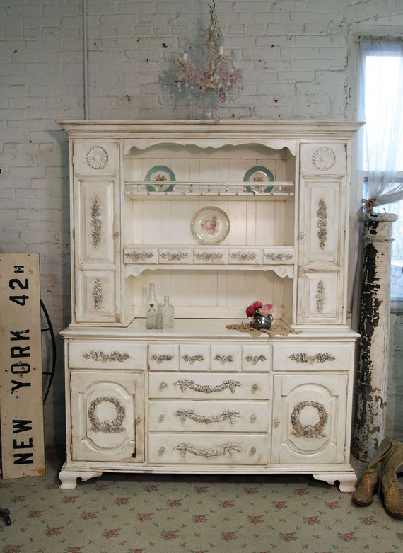 Painted Cottage Chic Shabby Tea Stained Farmhouse China CabinetCC283