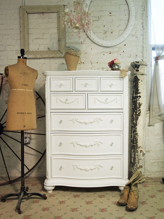 Painted Cottage Chic Shabby White Romance Dresser CH17