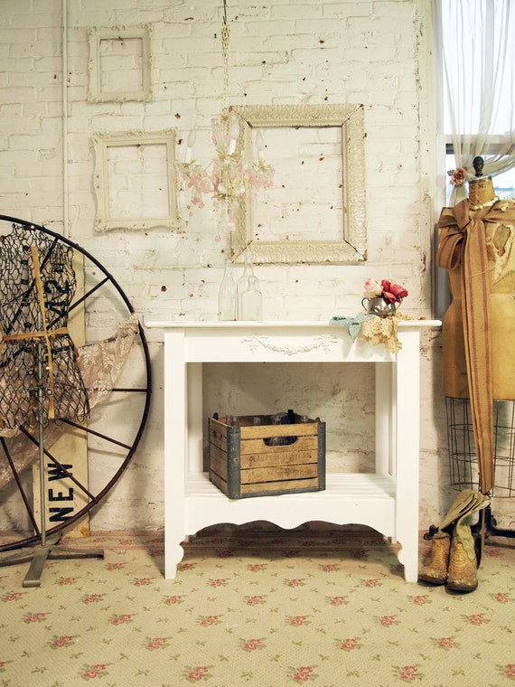 Painted Cottage Chic Shabby White Farmhouse Kitchen Island TBL231