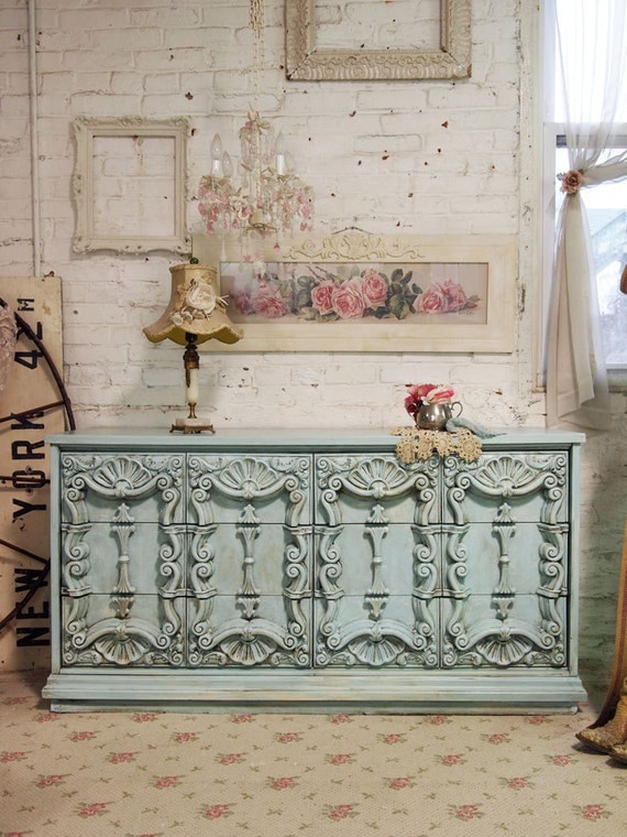 Painted Cottage Chic Shabby Aqua French Fancy Dresser DR310