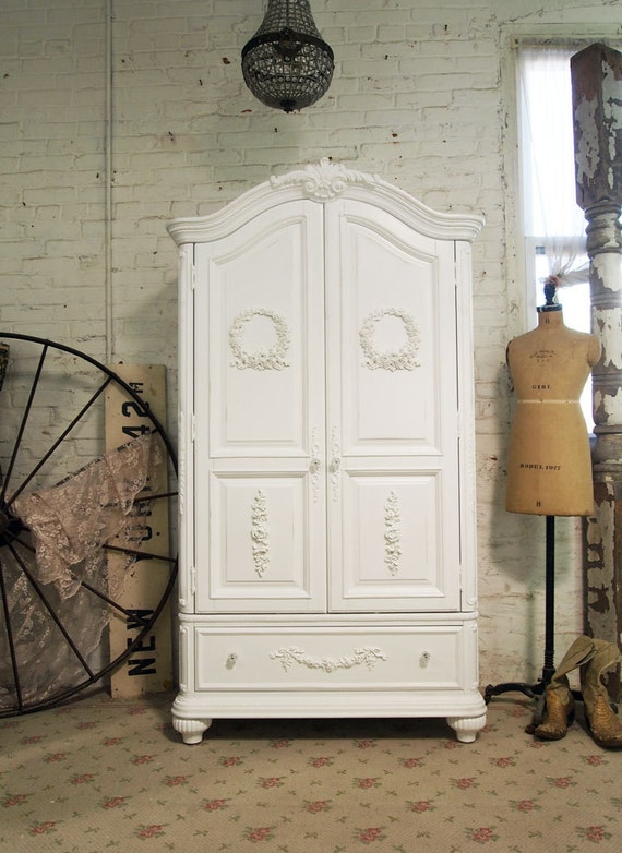 Painted Cottage Chic Shabby White Romantic Armoire AM234