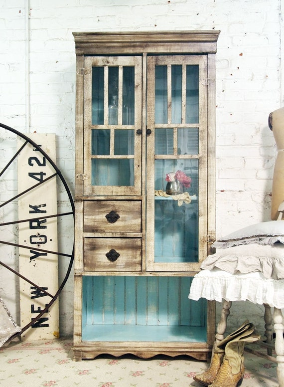 Painted Cottage Chic Shabby Handmade Farmhouse Cabinet CC310