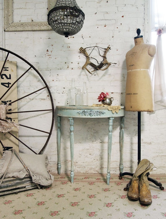 Painted Cottage Chic Shabby Aqua French Demi Lune Table